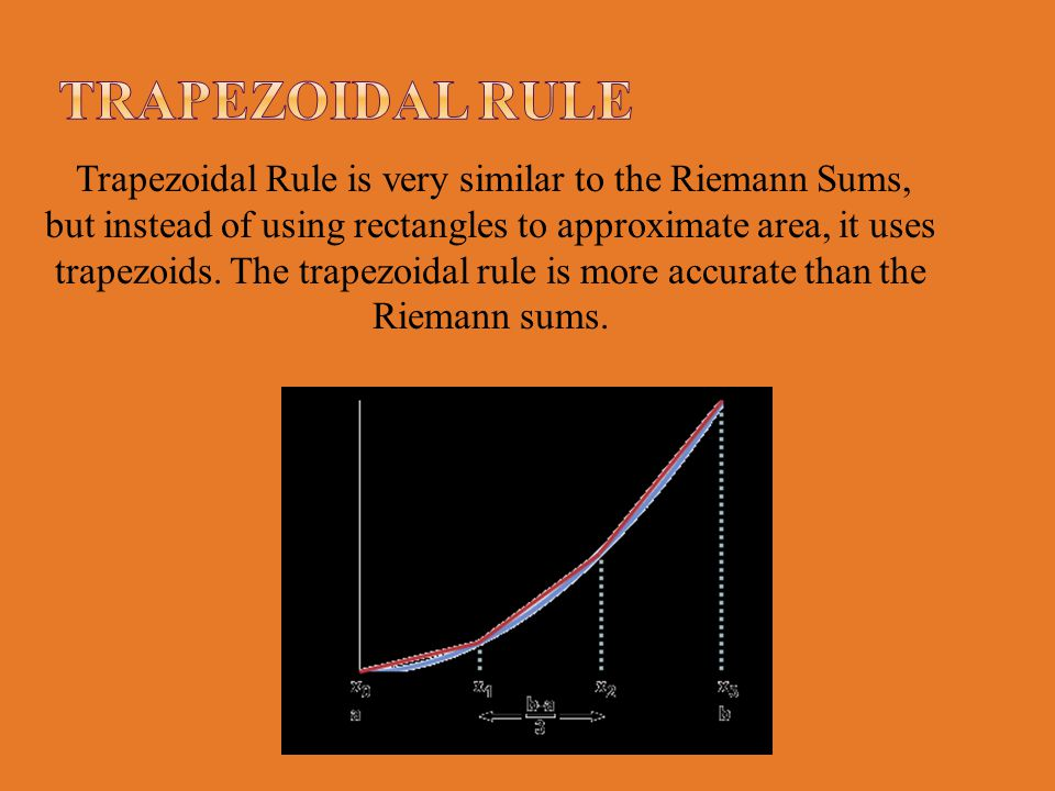 Trapezoidal Rule is very similar to the Riemann Sums, but instead of using rectangles to approximate area, it uses trapezoids. The trapezoidal rule is