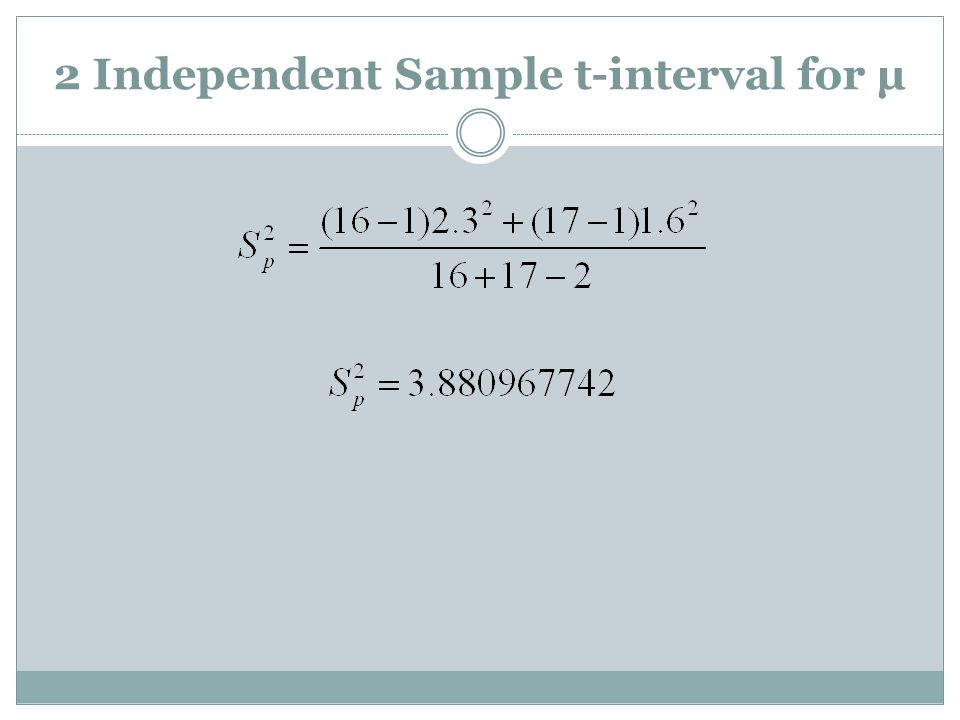 2 Independent Sample t-interval for µ