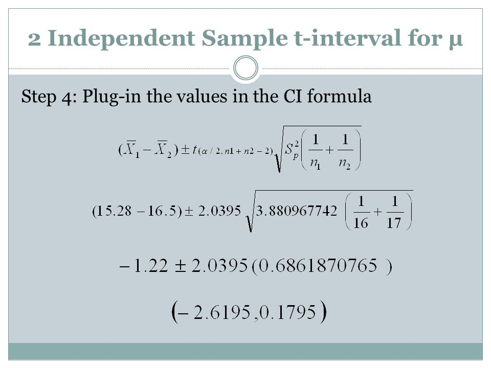 2 Independent Sample t-interval for µ Step 4: Plug-in the values in the CI formula
