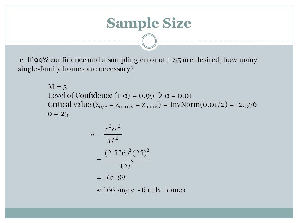 Sample Size c. If 99% confidence and a sampling error of  $5 are desired, how many single-family homes are necessary? M = 5 Level of Confidence (1-α)
