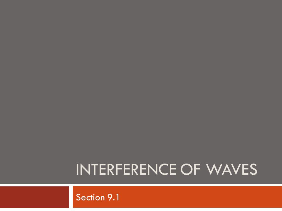 INTERFERENCE OF WAVES Section 9.1