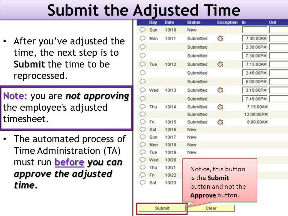Submit the Adjusted Time After you've adjusted the time, the next step is to Submit the time to be reprocessed.