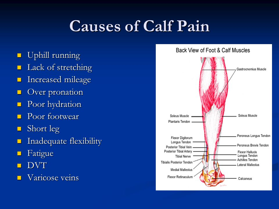 Causes of Calf Pain Uphill running Uphill running Lack of stretching Lack of stretching Increased mileage Increased mileage Over pronation Over pronation Poor hydration Poor hydration Poor footwear Poor footwear Short leg Short leg Inadequate flexibility Inadequate flexibility Fatigue Fatigue DVT DVT Varicose veins Varicose veins