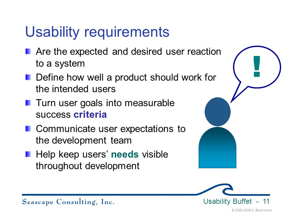 © 2006-2009 K. Bachmann Usability Buffet - 11 Usability requirements Are the expected and desired user reaction to a system Define how well a product