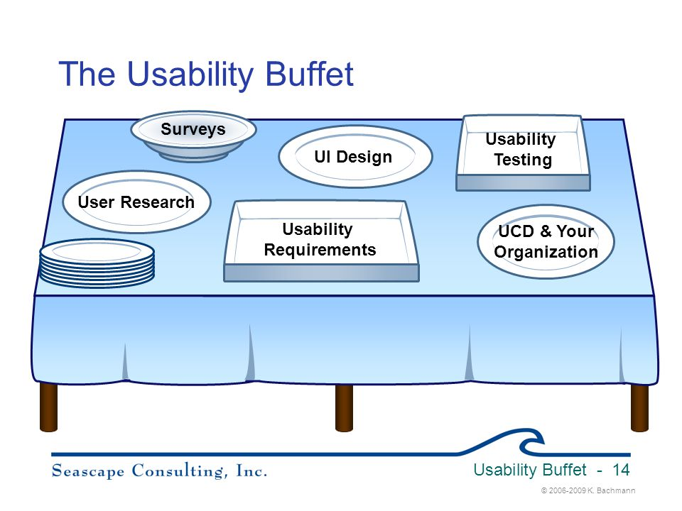 © 2006-2009 K. Bachmann Usability Buffet - 14 The Usability Buffet User Research UCD & Your Organization Usability Requirements Usability Testing UI D
