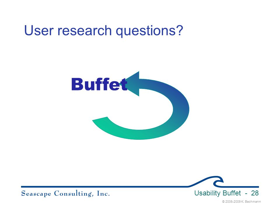 © 2006-2009 K. Bachmann Usability Buffet - 28 User research questions? Buffet