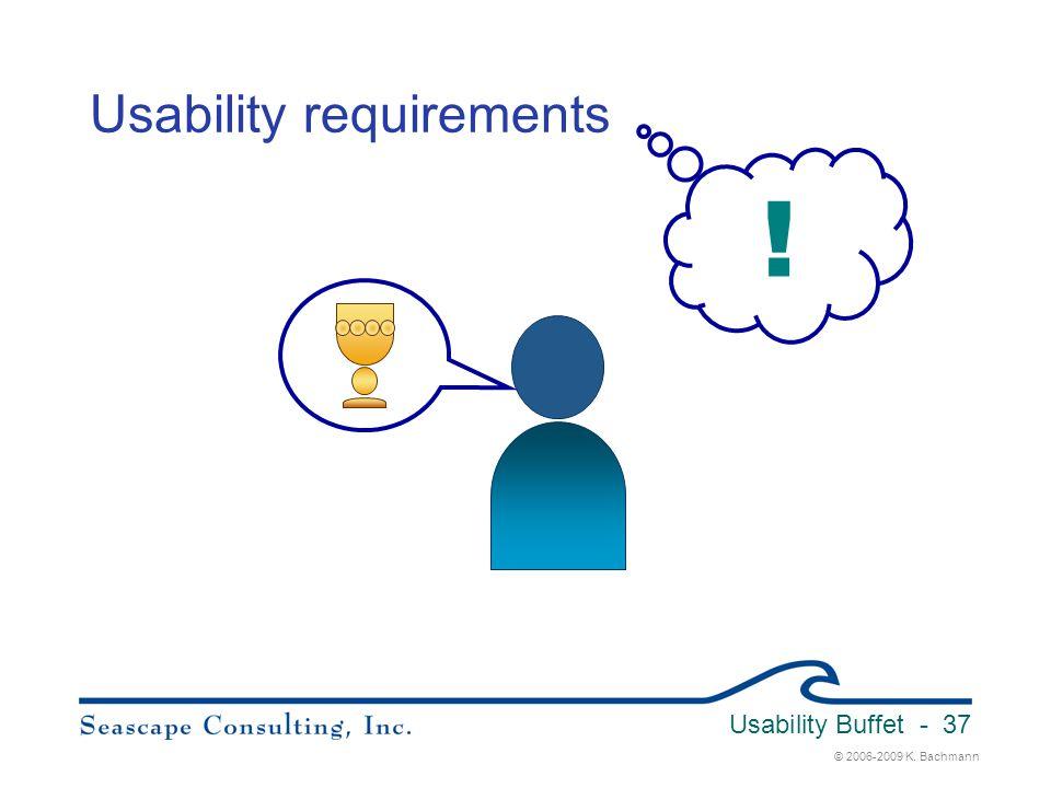 © 2006-2009 K. Bachmann Usability Buffet - 37 Usability requirements !