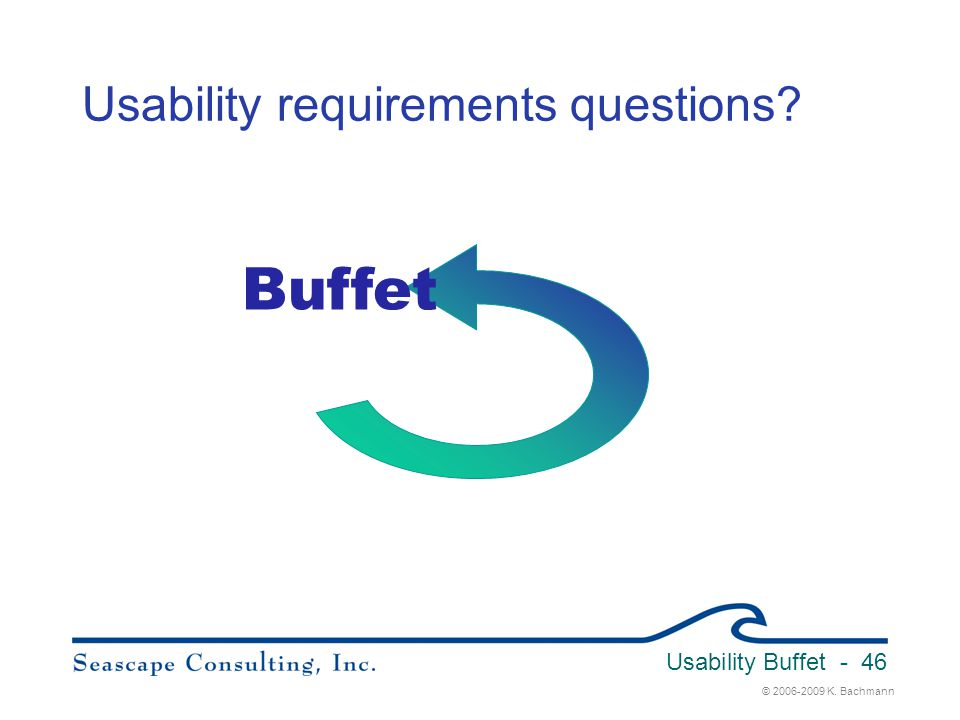 © 2006-2009 K. Bachmann Usability Buffet - 46 Usability requirements questions? Buffet