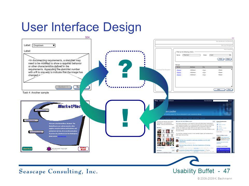© 2006-2009 K. Bachmann Usability Buffet - 47 User Interface Design ? !