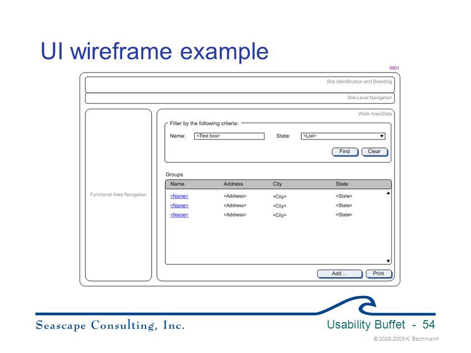 © 2006-2009 K. Bachmann Usability Buffet - 54 UI wireframe example