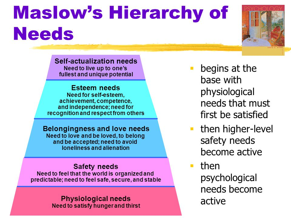 Maslow's Hierarchy of Needs  begins at the base with physiological needs that must first be satisfied  then higher-level safety needs become active  then psychological needs become active Self-actualization needs Need to live up to one's fullest and unique potential Esteem needs Need for self-esteem, achievement, competence, and independence; need for recognition and respect from others Safety needs Need to feel that the world is organized and predictable; need to feel safe, secure, and stable Belongingness and love needs Need to love and be loved, to belong and be accepted; need to avoid loneliness and alienation Physiological needs Need to satisfy hunger and thirst