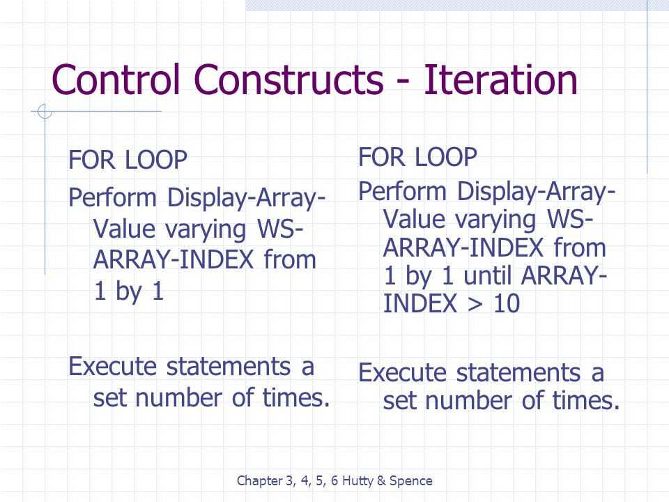 Chapter 3, 4, 5, 6 Hutty & Spence Control Constructs - Iteration FOR LOOP Perform Display-Array- Value varying WS- ARRAY-INDEX from 1 by 1 Execute sta