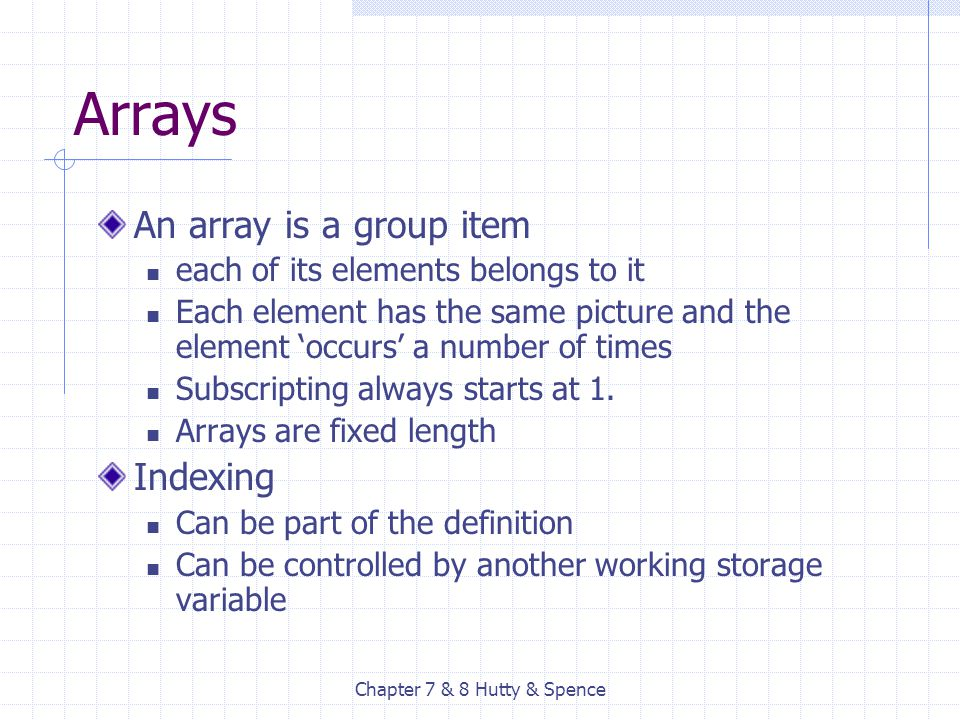 Chapter 7 & 8 Hutty & Spence Arrays An array is a group item each of its elements belongs to it Each element has the same picture and the element 'occ