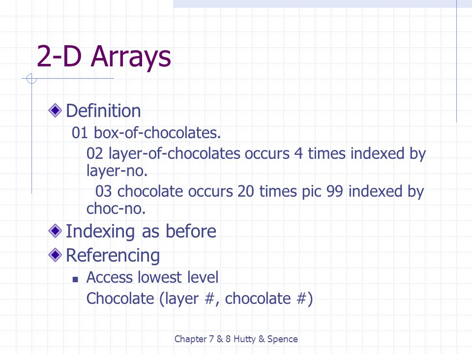 Chapter 7 & 8 Hutty & Spence 2-D Arrays Definition 01 box-of-chocolates. 02 layer-of-chocolates occurs 4 times indexed by layer-no. 03 chocolate occur