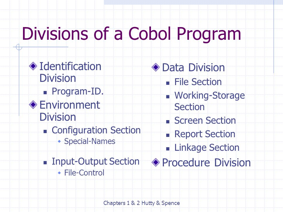 Chapters 1 & 2 Hutty & Spence Divisions of a Cobol Program Identification Division Program-ID. Environment Division Configuration Section  Special-Na