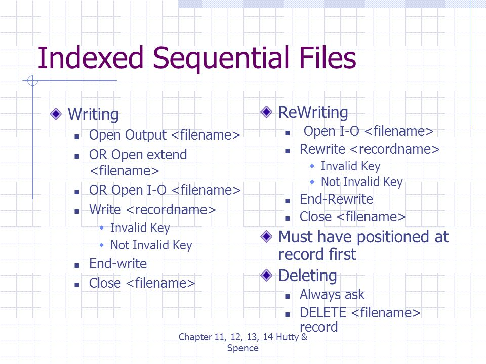 Chapter 11, 12, 13, 14 Hutty & Spence Indexed Sequential Files Writing Open Output OR Open extend OR Open I-O Write  Invalid Key  Not Invalid Key En