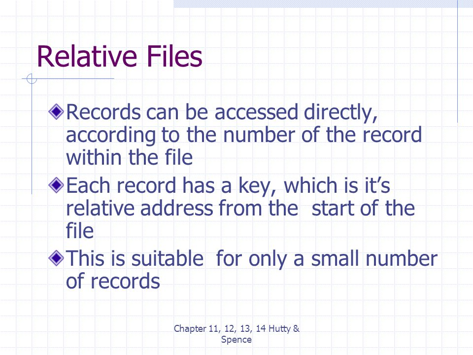 Chapter 11, 12, 13, 14 Hutty & Spence Relative Files Records can be accessed directly, according to the number of the record within the file Each reco