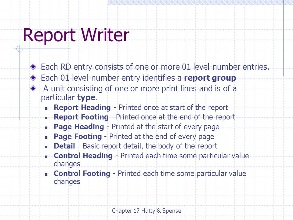 Chapter 17 Hutty & Spense Report Writer Each RD entry consists of one or more 01 level-number entries. Each 01 level-number entry identifies a report
