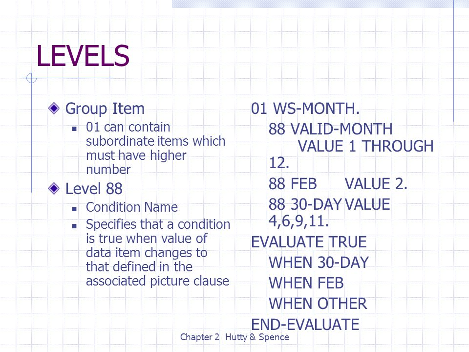 Chapter 2 Hutty & Spence LEVELS Group Item 01 can contain subordinate items which must have higher number Level 88 Condition Name Specifies that a con