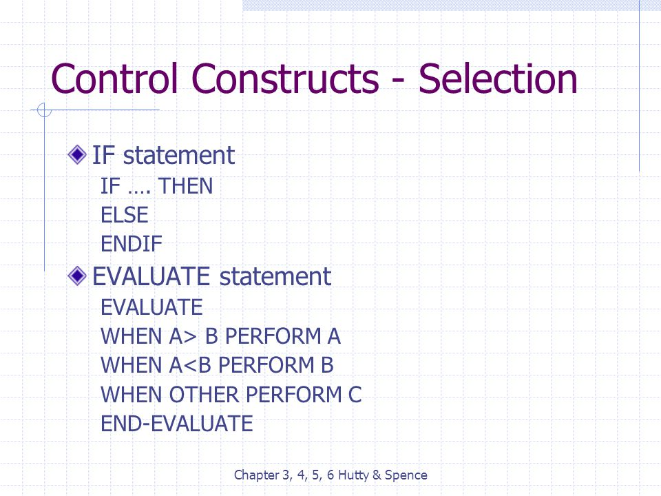 Chapter 3, 4, 5, 6 Hutty & Spence Control Constructs - Selection IF statement IF …. THEN ELSE ENDIF EVALUATE statement EVALUATE WHEN A> B PERFORM A WH
