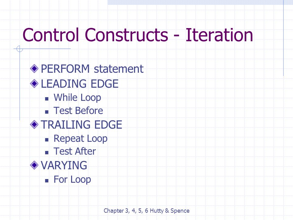 Chapter 3, 4, 5, 6 Hutty & Spence Control Constructs - Iteration PERFORM statement LEADING EDGE While Loop Test Before TRAILING EDGE Repeat Loop Test