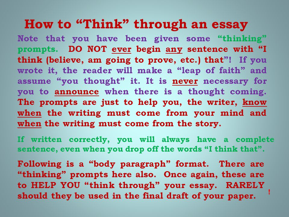 """How to """"Think"""" through an essay Note that you have been given some """"thinking"""" prompts. DO NOT ever begin any sentence with """"I think (believe, am going"""