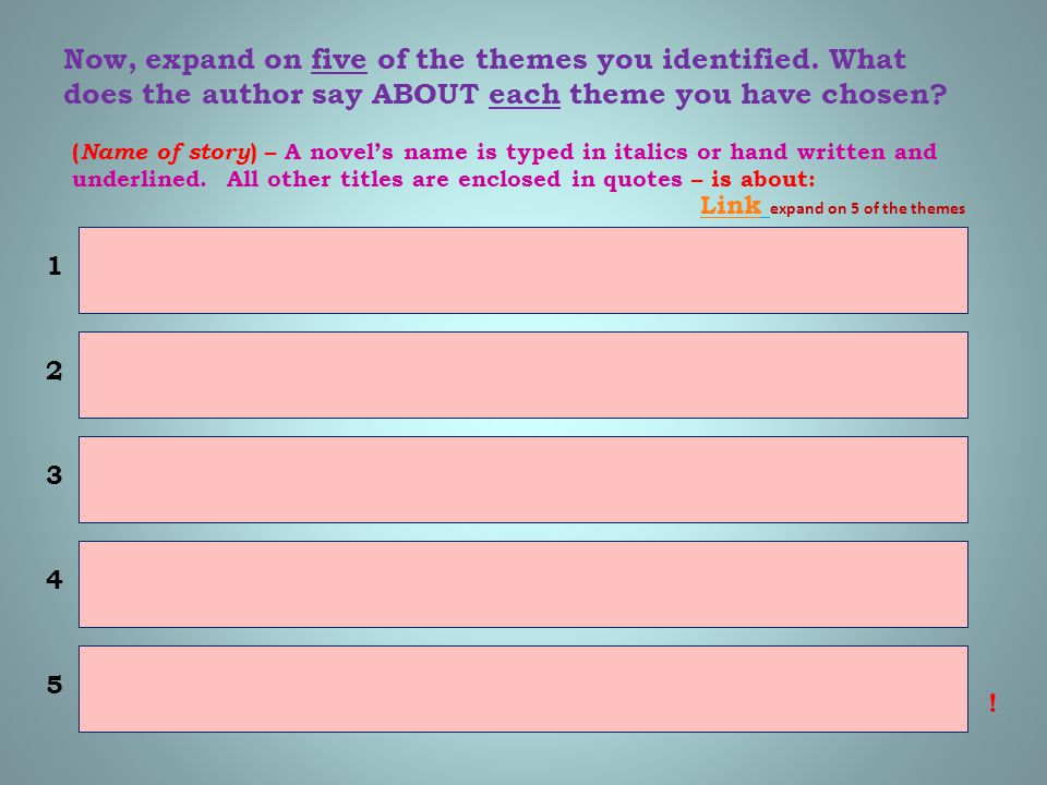 Now, expand on five of the themes you identified. What does the author say ABOUT each theme you have chosen? ( Name of story ) – A novel's name is typ