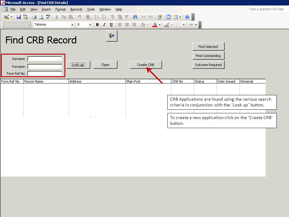 Finally, the process of renewing a CRB is managed on the 'Renewals' tab.
