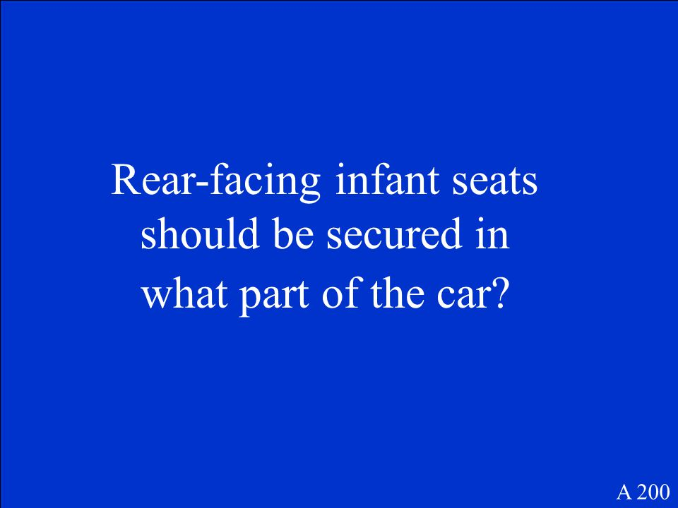 A 200 Rear-facing infant seats should be secured in what part of the car?