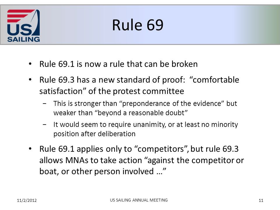 """Rule 69 11/2/201211 US SAILING ANNUAL MEETING Rule 69.1 is now a rule that can be broken Rule 69.3 has a new standard of proof: """"comfortable satisfact"""