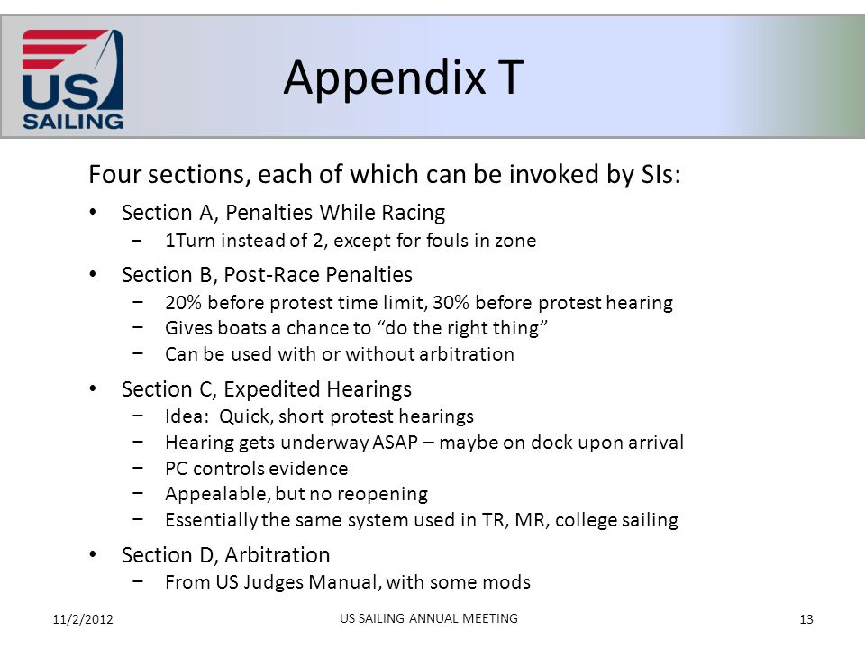 Appendix T 11/2/201213 US SAILING ANNUAL MEETING Four sections, each of which can be invoked by SIs: Section A, Penalties While Racing −1Turn instead