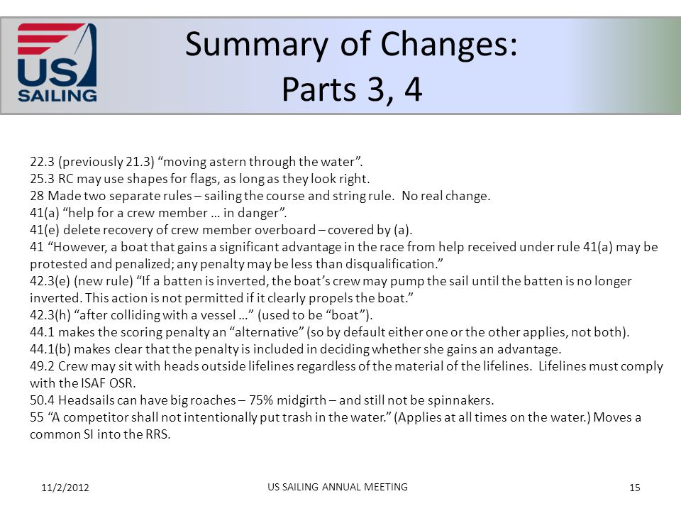 """Summary of Changes: Parts 3, 4 11/2/201215 US SAILING ANNUAL MEETING 22.3 (previously 21.3) """"moving astern through the water"""". 25.3 RC may use shapes"""