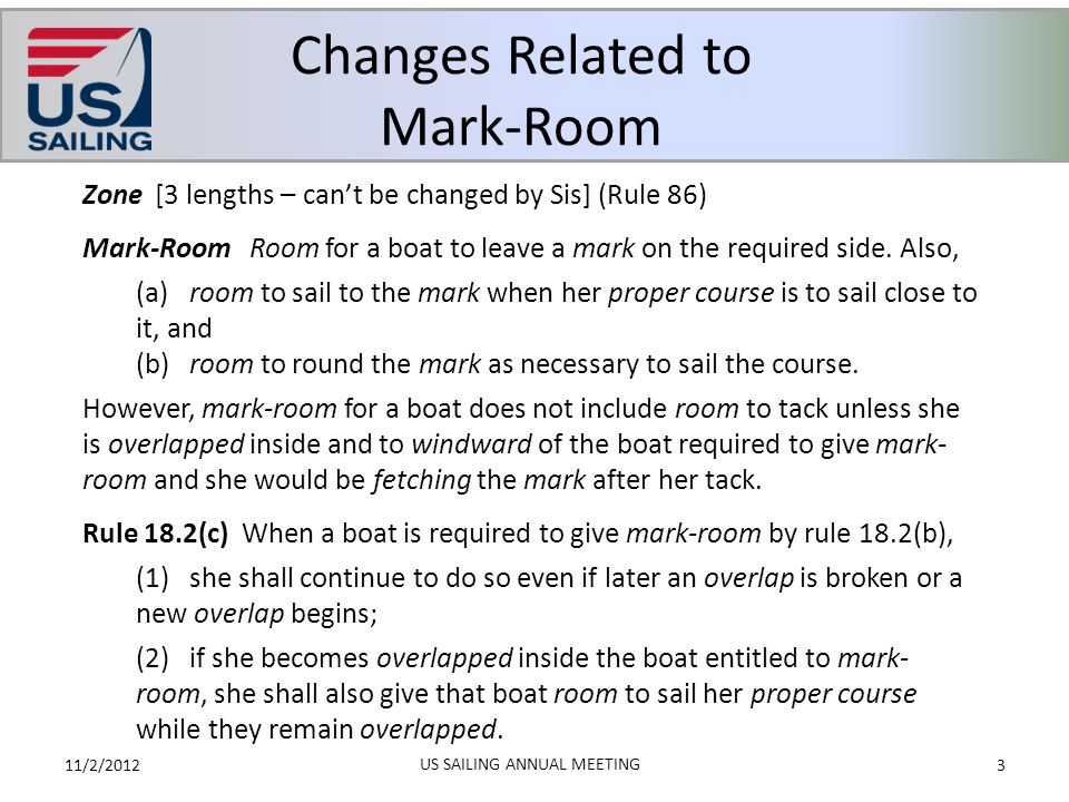 Summary of Changes: Definitions – Part 2 11/2/201214 US SAILING ANNUAL MEETING (Potential game changes in bold) Definitions have been moved to the front of the book.