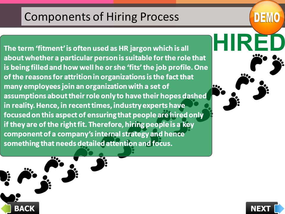 Components of Hiring Process HIRED The term 'fitment' is often used as HR jargon which is all about whether a particular person is suitable for the ro