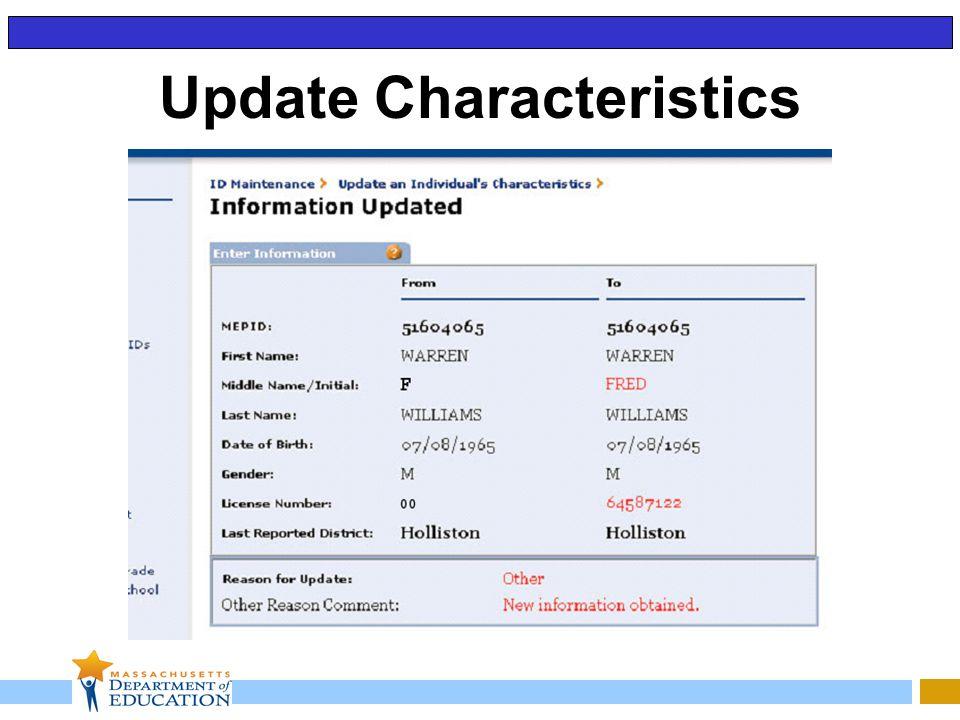 Update Characteristics