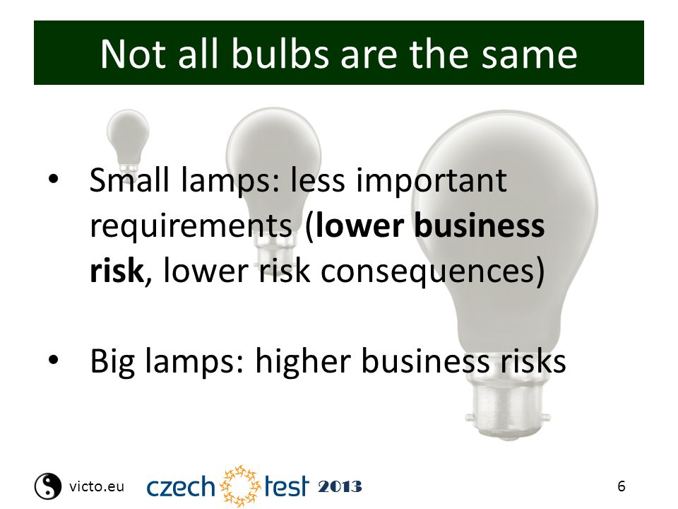 6victo.eu 2013 Not all bulbs are the same Small lamps: less important requirements (lower business risk, lower risk consequences) Big lamps: higher bu