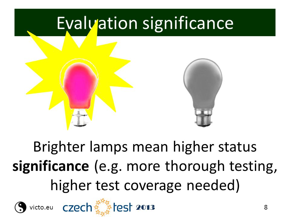 8victo.eu 2013 Evaluation significance Brighter lamps mean higher status significance (e.g. more thorough testing, higher test coverage needed)