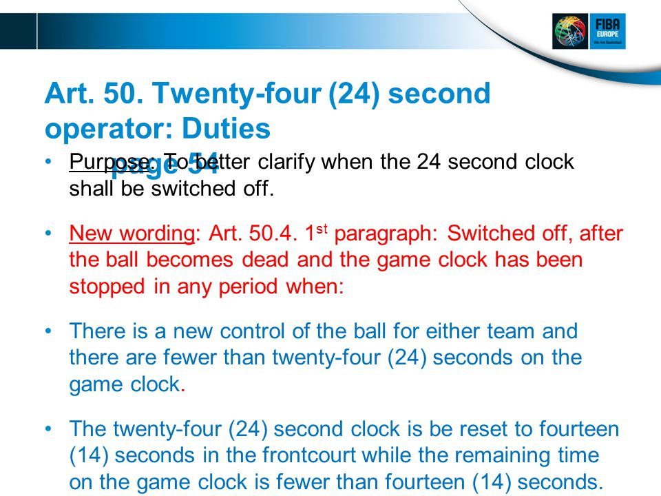Art. 50. Twenty-four (24) second operator: Duties page 54 Purpose: To better clarify when the 24 second clock shall be switched off. New wording: Art.