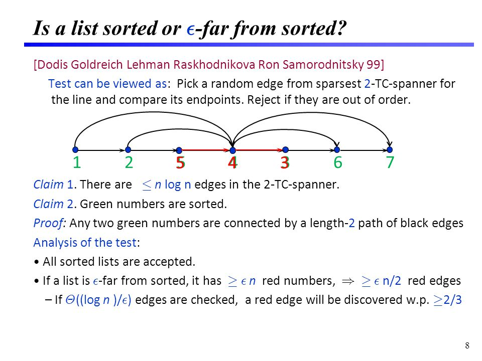 Is a list sorted or ² -far from sorted? [Dodis Goldreich Lehman Raskhodnikova Ron Samorodnitsky 99] Test can be viewed as: Pick a random edge from spa