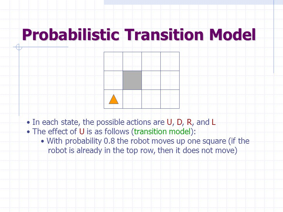 Probabilistic Transition Model In each state, the possible actions are U, D, R, and L The effect of U is as follows (transition model): With probability 0.8 the robot moves up one square (if the robot is already in the top row, then it does not move)