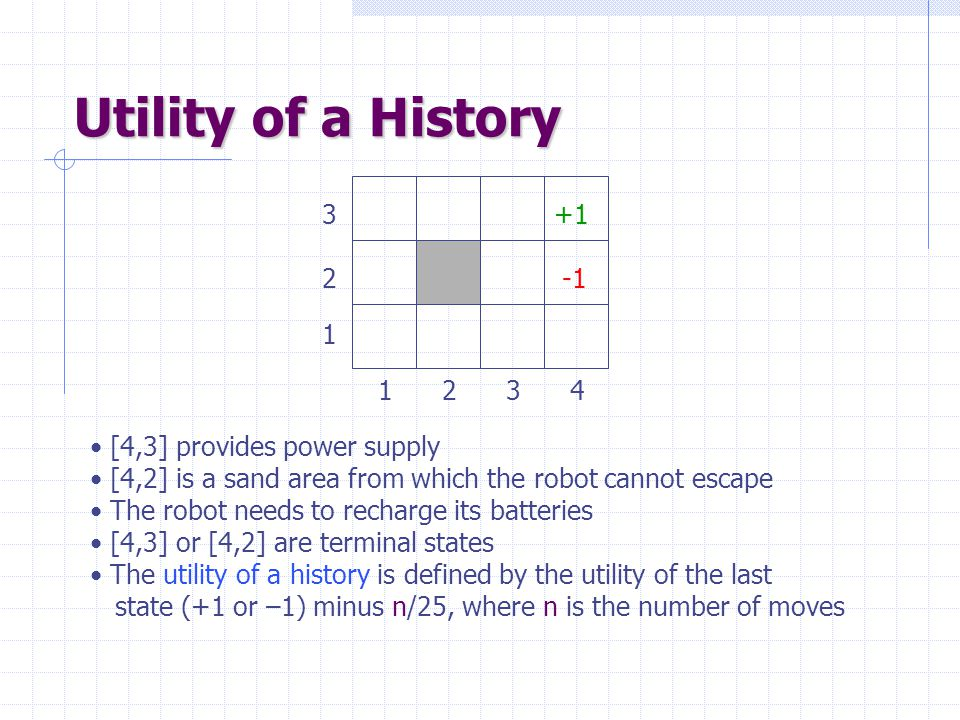 Utility of a History [4,3] provides power supply [4,2] is a sand area from which the robot cannot escape The robot needs to recharge its batteries [4,3] or [4,2] are terminal states The utility of a history is defined by the utility of the last state (+1 or –1) minus n/25, where n is the number of moves +1 2 3 1 4321