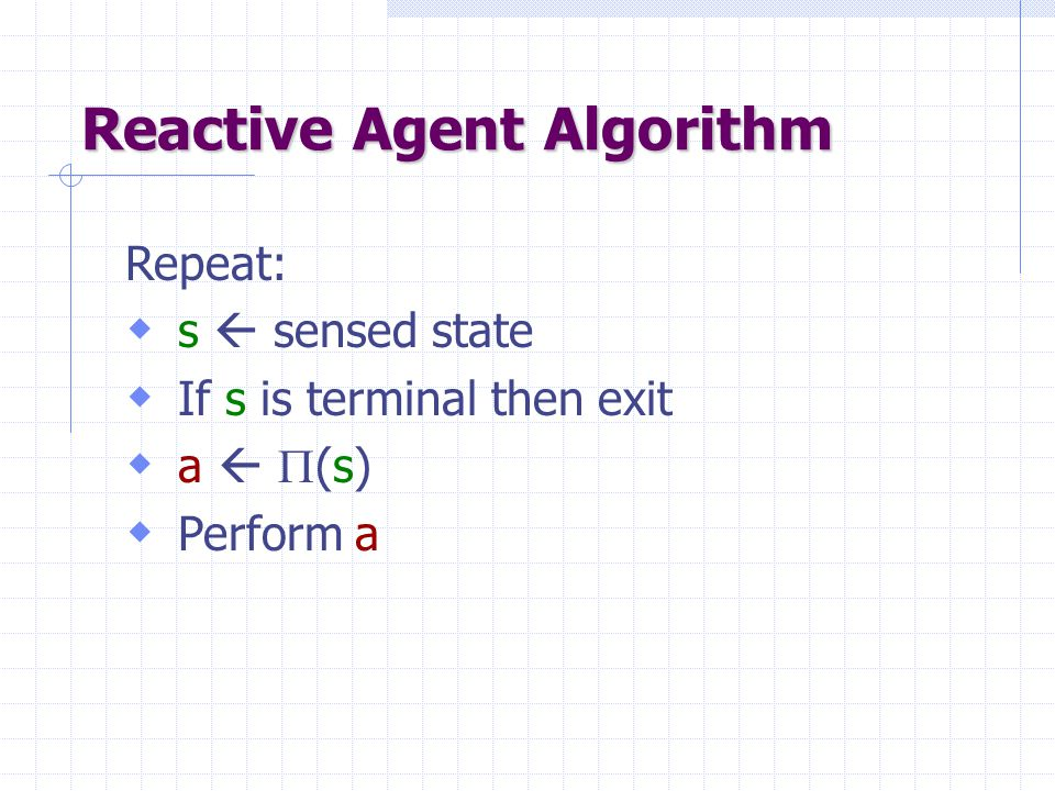 Repeat:  s  sensed state  If s is terminal then exit  a   (s)  Perform a Reactive Agent Algorithm