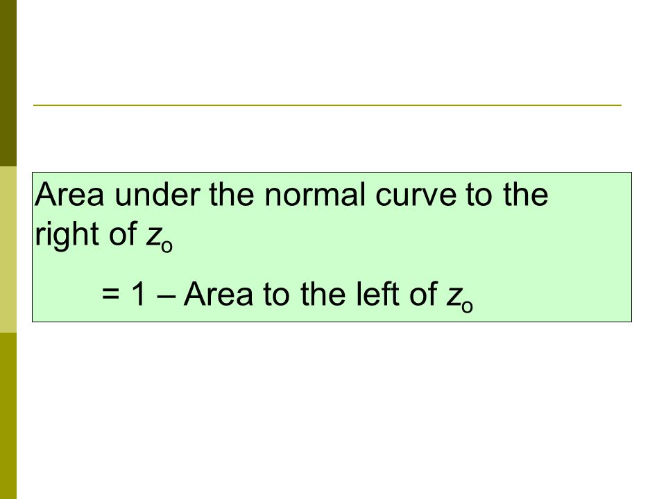Area under the normal curve to the right of z o = 1 – Area to the left of z o