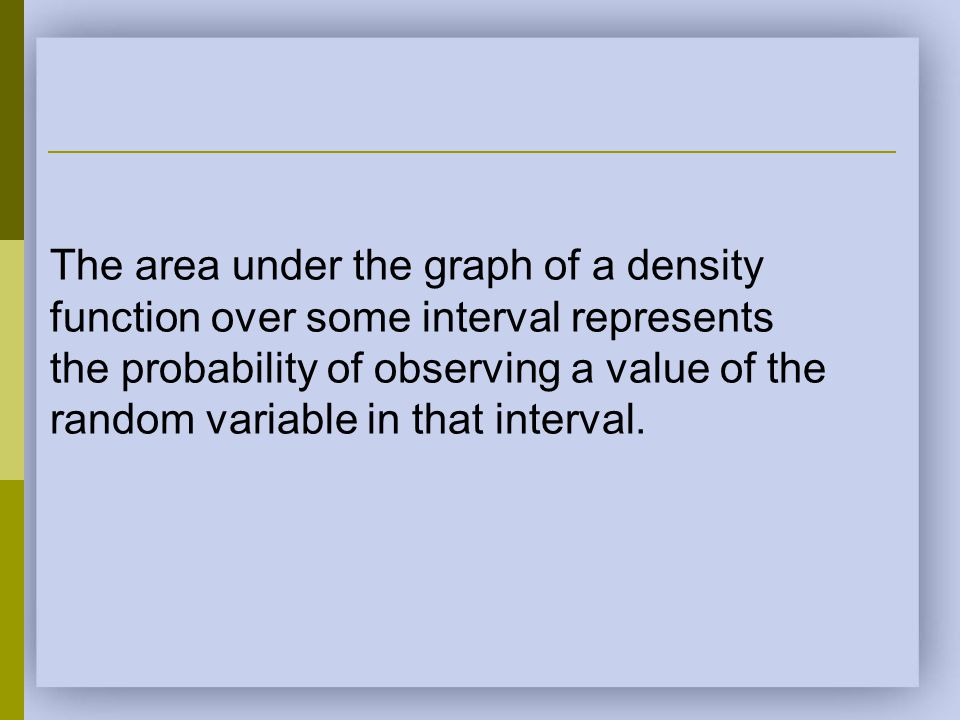 The area under the graph of a density function over some interval represents the probability of observing a value of the random variable in that inter