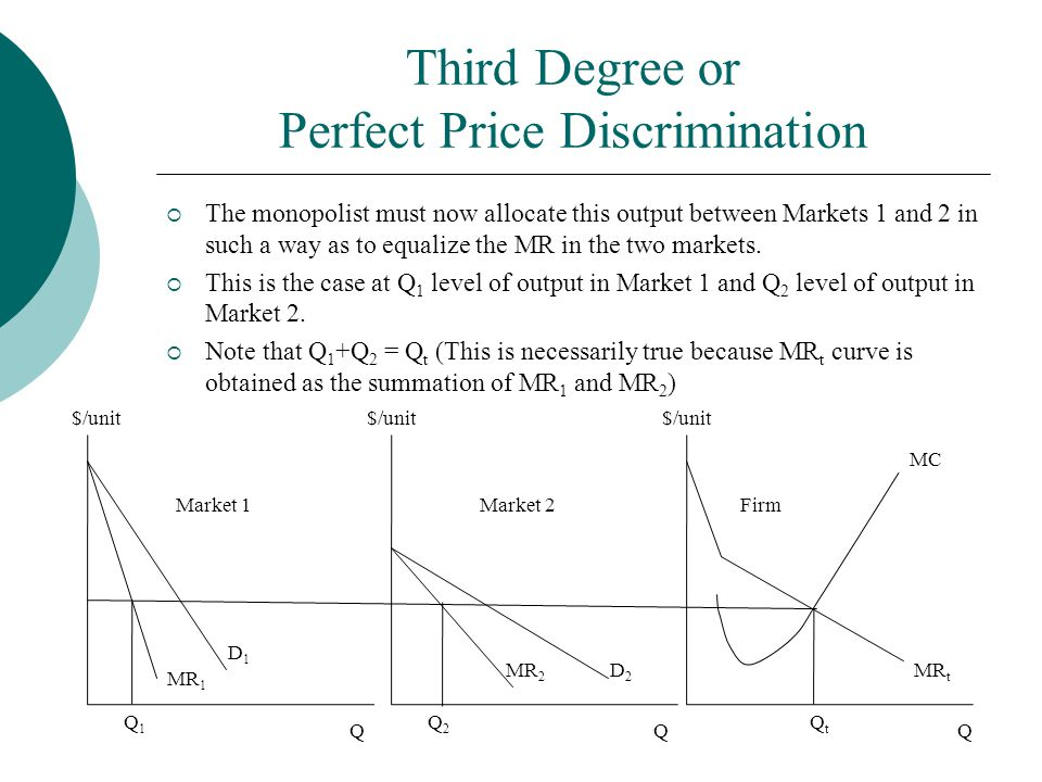 Third Degree or Perfect Price Discrimination  The monopolist must now allocate this output between Markets 1 and 2 in such a way as to equalize the M