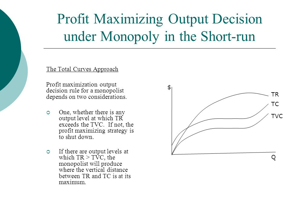 Profit Maximizing Output Decision under Monopoly in the Short-run The Total Curves Approach Profit maximization output decision rule for a monopolist