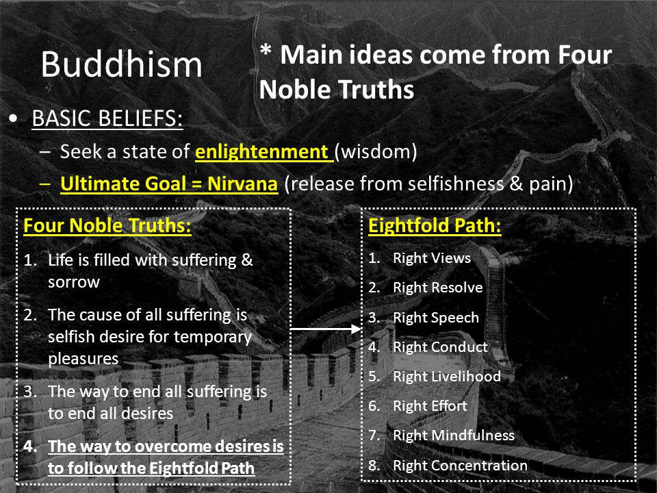 Buddhism BASIC BELIEFS: –Seek a state of enlightenment (wisdom) –Ultimate Goal = Nirvana (release from selfishness & pain) Four Noble Truths: 1.Life i