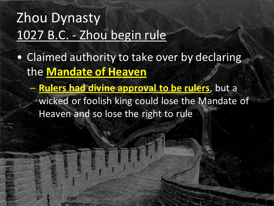 Zhou Dynasty The Dynastic Cycle Floods, riots, etc.