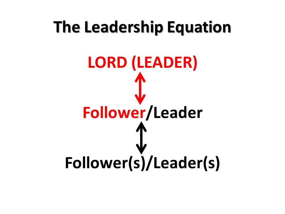 The Leadership Equation LORD (LEADER) Follower/Leader Follower(s)/Leader(s)