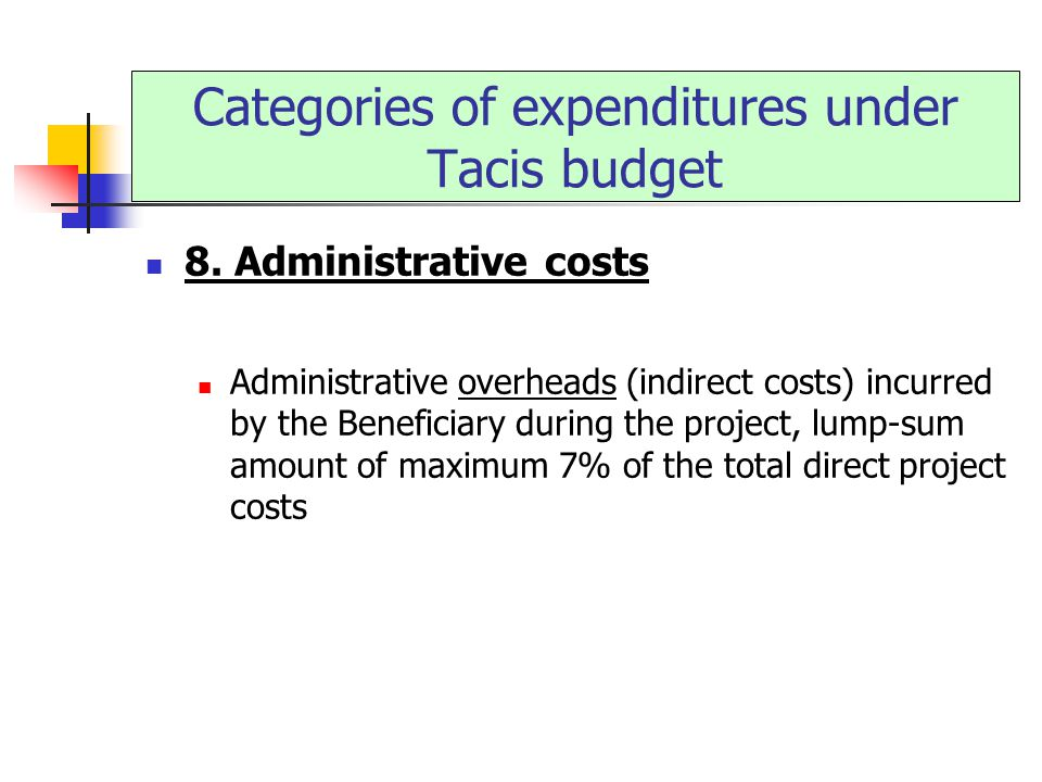 8. Administrative costs Administrative overheads (indirect costs) incurred by the Beneficiary during the project, lump-sum amount of maximum 7% of the